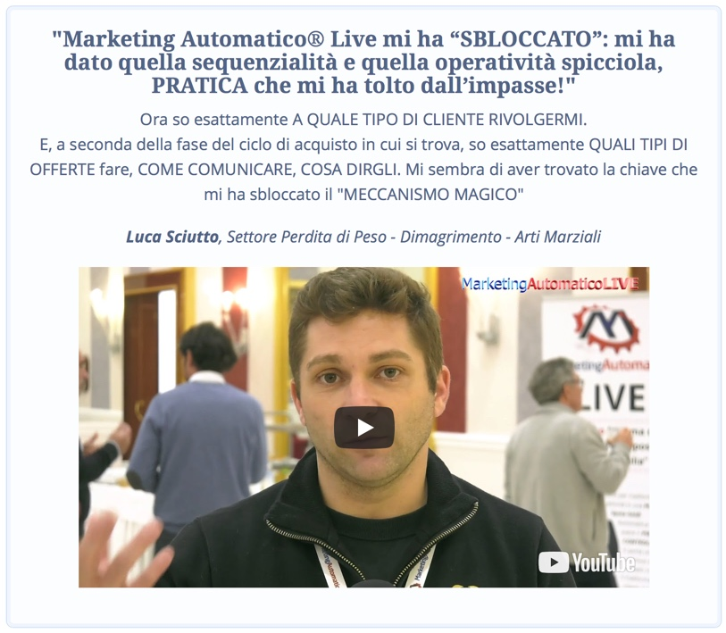 Marketing Automatico - Opinione Luca Sciutto
